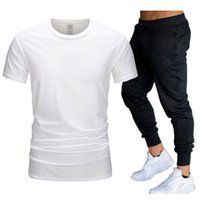 여름 패션 2021 디자이너 남자 tracksuits 셔츠 세트 + 바지 두 조각 세트 캐주얼 망 티셔츠 조깅 스키 니 바지 체육관 휘트니스 스웨트 팬츠 남자 옷