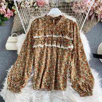 Autumn Retro Temperament Floral Chiffon Shirt Women's Fashion Stand-up Collar Lantern Sleeve Top HK089 210507
