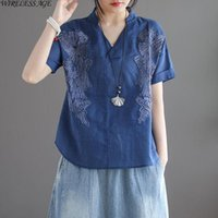 Women's T-Shirt WIRELESS AGE T Shirt Women Retro V Neck Loose Slimming Embroidery Short Sleeved Casual Cotton Linen Top 2021 Fashion Wild