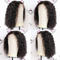 16inch Deep Wave Brazilian Remy Pre Plucked Closure 180% Density Jerry Curly Lace Front Wig Short Bob Frontal Human Hair Wigs