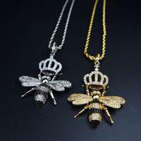 Hip hop men's necklace copper jewelry micro inlaid with zircon bee crown pendant electroplating color zirconium