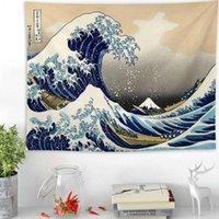 Giappone Kanagawa Waves Tapestry Tapestry Whale Arowana Wall Hanging Tapestries Boho Copriletto Palloni da yoga Tappetino da yoga 2 Dimensioni