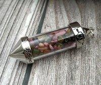 Colgantes ya2887 Amatistas Rose Cuarzs Chips Piedra Dentro de la botella de cristal Amora Curación Péndulo Colgante