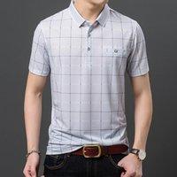 남자 폴로스 YMWMHU 격자 무늬 셔츠 남자 짧은 소매 스트라이프 옷 streetwear 남성 플러스 크기를위한 짧은 소매
