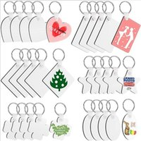 DIY Sublimation Blank Keychain Heat Transfer MDF White Key Rings for Present Making Single-Side Printed Party Favor JJA183