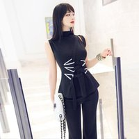 Women's Two Piece Pants Women Pieces Suits 2021 Summer Style Lady Sleeveless Blouse Tops+Long Flare Trousers Sets