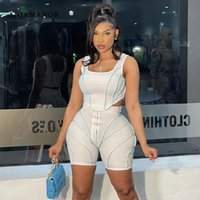 Women's Tracksuits ANJAMANOR Sexy Sporty 2 Piece Set Contrast Stitch Biker Shorts Crop Top Womens Summer Clothing Tracksuit Wholesale Items