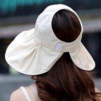 سيدة الشمس قبعة توبي الصيف uv قطع ساندي بيتش طوي الشمس الشمس الشمس فارغة أعلى الكورية الطبعة كبيرة حافة المرأة W029 القبعات واسعة