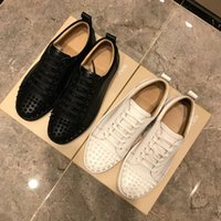 LOUBOUTIN CHRISTIAN Top Men Women Casual Shoes Designer Red Bottom Studded Spikes Fashion Insider Sneakers Black Red White Leather Low-t DOn