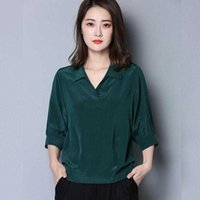 Women Spring Summer Style Blouses Shirts lady Casual Imitation silk Turn-down Collar Half Batwing Sleeve blusas Tops DF4023 210609