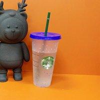 Kaffeetasse mit Deckel Stroh DHL Kunststoff Becher Starbucks 24 Unrubierbare klares Trinken flache Meerjungfrau Göttin 710ml Transparente Farbwechselbecher Klassiker Großhandel