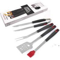 Conjuntos de herramientas de barbacoa de acero inoxidable Cocinar Professional Outdoor BBQ Utensilios Accesorios Kit de accesorios 4 piezas Conjunto EWA5254