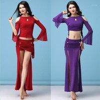 Kadınlar Bölünmüş Dans Elbise Mesh Tül Belly Giyim Dantel Up Parlak İspanyol Balo Salonu Renkli Seksi Performans Elbise 933-2441