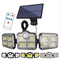 108 122 138 171 LEDs Lâmpadas Solares Ao Ar Livre 3 Cabeça Sensor de Movimento 270 ° Iluminação de Ângulo Grande À Prova D 'Água Controle Remoto