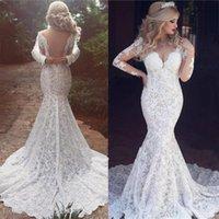 Sweep Train Sexy Sweetheart Lace Long Sleeves Mermaid Wedding Dresses With V Back vestidos de novia baratos con envio gratis