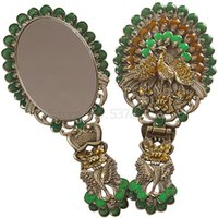 Espelhos compõem Mesa de Espelho Princesa Portátil Punho Dobrável Segurando Antiguidade Pavão Imitação de Cobre Beleza