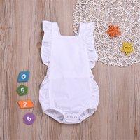 Macacões de bebê sólido 6 cores Ruffle Lace Romper Infantil sem mangas macacões sólidos Botão elástico Baby Onesies 395 J2