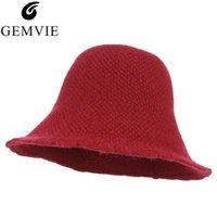 Kadın Yün Örgü Kova Şapka Katı Renk Fisher Kap Katlanabilir Örme Kampaniform Üst Açık Geniş Brim Sunhat Şapkalar