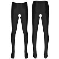 Women's Panties Men Sexy Sissy Lingerie Ice Silk Open Croch Pantyhose Leggings Stretchy Stockings Tights Hosiery Male Gay Erotic Underwear