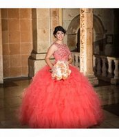 Cheap Coral Quinceanera Gowns Sweet 16 Ball Prom Gowns Puffy Skirt Tulle Crystal Beaded Coral Quinceanera Dresses for 15 Year