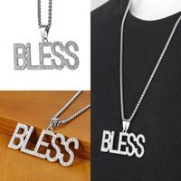 Pendant Necklaces Hip Hop Letter BLESS Man Pendants Iced Out Bling Full Rhinestone Silver Color Necklace For Men Jewelry