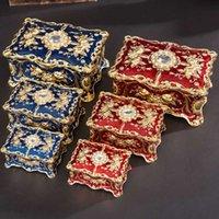 Boîte de bijoux de bijoux Vintage Rectangle Boîte de bijoux Ornate antique Boîte de rangement bijoux en grave 210713