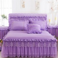 Lace Bed Skirt Pillowcases Romântico Romântico Casa de Ruffle Cama Capa Princesa Coleira de Cama Rei Rei Rainha Têmea Têxtil 356 R2