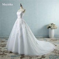 ZJ9032 custom made Bride Gown Dresses For Wedding White Ivory Sweetheart Crystal Waist Line Ball Princess lace maxi formal