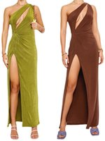Casual Dresses Women\u2021s Fashion Solid Color Long Dress Sexy One-shoulder Hollow Backless Split Skinny 2021 Summer