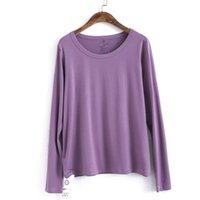 T-shirt das mulheres Johnature 2021 Outono O-pescoço Pullover Mulheres Tops 9 Cor Manga Longa Estilo Coreano Feminino Slim Casual All-Match T-shirts