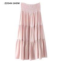 Böhmische weiße rosa lange Rock Feiertag Frauen Elastische Hohe Taille Nähte Plissee Swing Röcke Strand