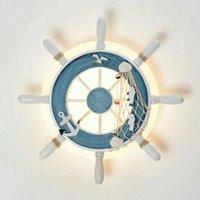 Kreativ LED Vägglampa Sovrum Bedside Ljus Barnrum Tecknad Personlighet Fartyg Rudder Decoration Lighting