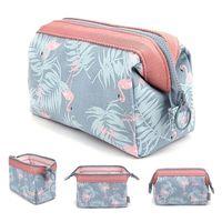 Dos Desenhos Animados Flamingo Saco Cosmético Mulheres Função Viagem Tronco Maquiagem Bag Zipper Composição Organizador Bolsa De Armazenamento Caixa de Kit 210322