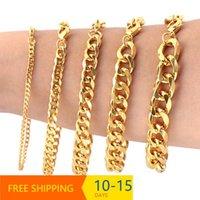 Link, Chain Drop Cuban Link Bracelets For Men Black Gold Stainless Steel Bracelet Male Hip Hop Jewelry 3 5 7 9 11mm