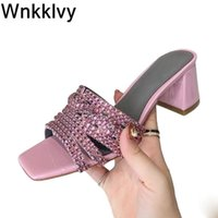 Bling Crystal Slippers Women Square Toe Chunky High Heel Sandals Candy Colors Summer Party Dress Shoes Sandalias 2021