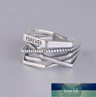 100% Genuine 925 Línea de plata esterlina Forma de enrollamiento Forever letra Anillos abiertos para mujeres Diseño creativo Lady Fine Jewelry Regalos