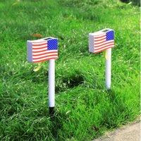 Plug in US Flag Solar Lamps Lighting Outdoor Solars Light Powered Waterproof Landscape Lanterns with Retro Design LED Lights