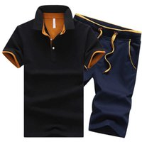 Cotton Mens Sets Summer Button Polo Shirts Turn Down Shorts 4XL Men Clothes 2 Piece Set Tracksuit Elastic Waist A0528
