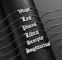 Horoscope sign pendant necklace Constellation Stainless steel zodiac letter necklaces Taurus Aquarius Scorpio Gemini Sagittarius fashion jewelry