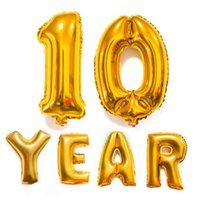 2021 32 pulgadas de helio globo aerostático número de globo en forma de oro plata inflable globos de cumpleaños decoración de la boda de la boda para el evento Suministros de fiesta