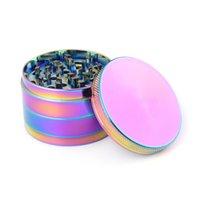 Rainbow Color Zinc Ley Grinder Grinder 4 strati 40mm 50mm 55mm 63mm Ice Blue Metal Tabacco Grinder Spice Crusher Accessori da fumo 390 S2