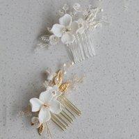 Saç Klipler Barrettes SLBRidal Ins Tarzı El Yapımı Kristal Rhinestone Seramik Çiçek Gelin Tarak Düğün Aksesuar Nedime Kadınlar Takı