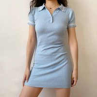 Casual Dresses Women Short Sleeved Rib Knitted Shirt Dress With Contrast Tipping