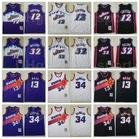 Basketbol Mitchell Ness Charles Barkley Jersey 34 Steve Nash 13 John Stockton 12 Karl Malone 32 Gerileme Vintage Mor Beyaz Siyah Yüksek Kalite