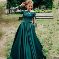 A-Line Green Evening Dresses Pockets Lace Appliques Long Sleeves Satin Prom Gowns Robe de Soirée Mariage
