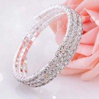 2021 Pulsera nupcial de cristal barato en stock Accesorios de boda de Rhinestone One Piece Silver Factory Factory Jewelry Bridal 2015