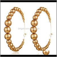 & Hie Jewelry Vintage Hoop Earrings Letter Open Hoops Exaggerated Round Circle Small Big Beads Female Ear Aessories1 Drop Delivery 2021 Gavny