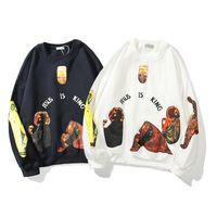 남성 후드 티 스웨터 Kanye West Men Streetwear Pullovers는 킹 프린트 풀오버 까마귀 플러스 벨벳 힙합 Bieber 스웨트 셔츠입니다