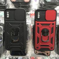 Yeni Popüler Slayt Kamera Kapak Dönen Halka Braketi Mobil Kılıf TPU PC Telefon Kabuk Standı iphone 12 Pro 11 XS Max XR 6 7 8 Artı Samsung A72 A52 A12