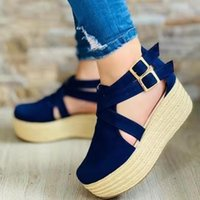 Sandals 2021 Summer Cool And Comfortable Suede High-heeled Wedge Round Toe Baotou Women's